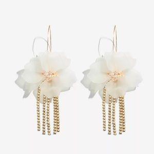 Statement White Flower Earrings
